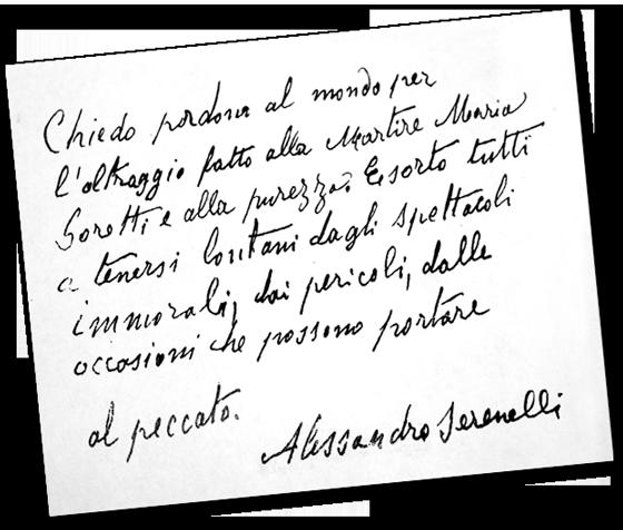 Alessandro Serenelli--Testament