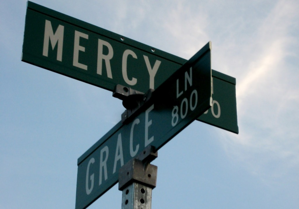 Grace and mercy road sign